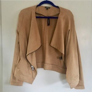 NWT Express Faux Suede Drapey Open Front Jacket